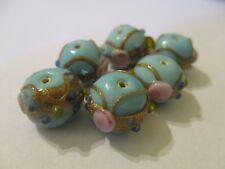 12 Turquoise Blue 15 x12 mm Wedding Cake  Lampwork  Glass Beads   VN36