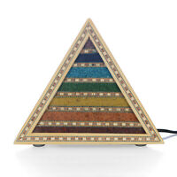 Multi Color Handcrafted Seven Chakra Table Desk Pyramid Lamp Electric Fitting