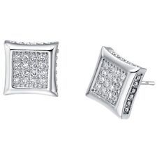 UK Sparkly Silver Lab Diamond Bling 9ct Platinum Plated Square Stud Earrings