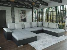 Sofa Galera Schwarz/Grau Ecksofa Wohnlandschaft U-Form Couch Garnitur mit Kissen