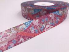 DIY 1 Yard 1'' Flowers Pattern Printed Grosgrain Ribbon Hair Bow Sewing Clothing
