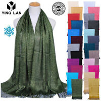 Girl's Muslim Islamic Tassel Glitter Long Hijab Scarf Shawl Wrap Pashmina Stole