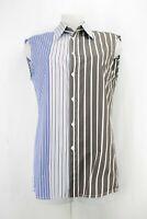 Marni Blue Panel Stripes Oversized Sleeveless Shirt Size 10 UK/ 38 EU/ 6 US