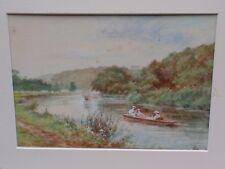 Antico Duncan 1909 ORIGINALE River NAUTICA sceine Acquerello Pittura su carta