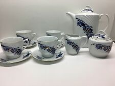 Rare Antique Lucru Manual Cobalt Blue Tea Set Romania JRJS Cluj
