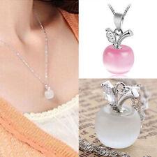 Frauen Silber Apple Kristall Strass Opal Anhänger Halskette NEU