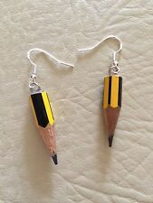 FUNKY PENCIL DROP EARRINGS SCHOOL DRAWING QUIRKY FUN COOL NOVELTY GIRLS