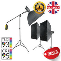 Daylight LED Continuous Studio Light Three Head Boom Kit Softbox Stand MKII 100W