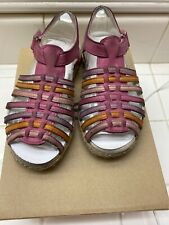 Ugg Australia Girls Size 11 Usa/Eu28 Multicolor Leather Gretel Sandals Preowned