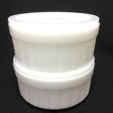 Set Of 2 White Oven Ware Bowls With Lids Federal Glass Ribbed Casserole Bakers