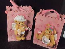 Cherished Teddies 2pc  CERAMIC VALENTINE BOY & GIRL TREAT BAG Prototypes !!!!!!!