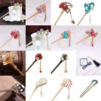 Chinese Style Metal Rhinestone Hair Stick Hair Chopsticks Chignon Hairpin Pin