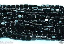 50 CzechMates Two Hole Tile Glass Beads Jet Black 6mm