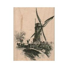 NEW Windmill Scene RUBBER STAMP, Windmill Stamp, Farming Stamp, Dutch Windmill