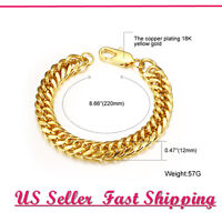 Fashion Wild Thick Men's Wrist Bracelet 18K Gold plated