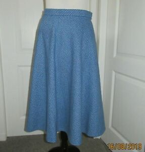 Genuine 1970's Vintage blue lined wool Midi Skirt St Michael made in the Uk