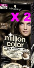 LOT 2 SCHWARZKOPF MILLION COLOR COLORATION TEINTURE COULEUR 6-0 CHATAIN SATINE