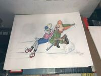 "Virgil Ross Sketch - Bugs Bunny And Elmer Fudd RARE. Signed 12.5x10.5"""