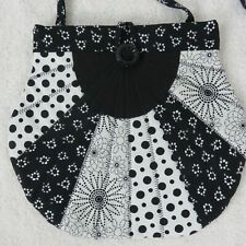 Handmade Small Fan Shape Quilted Black White Shoulder Bag Purse Button Closure