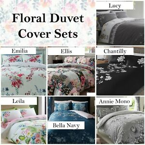 Floral Duvet Quilt Cover with Pillowcases Bedding Set Double & King