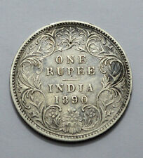 """1890 Type A Bust I """"B"""" BRITISH INDIA VICTORIA EMPRESS ONE RUPEE .917 SILVER COIN"""