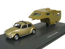 Schuco 1/43 Volkswagen 1200 with caravan trailer gold 450903800