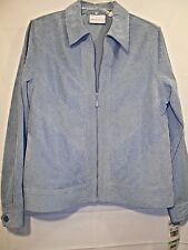 ALFRED DUNNER womens sky blue long sleeve corduroy zip-front jacket size 8 NWT