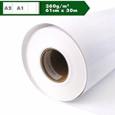 Inkjet Plotterrolle hochglänzend Fotopapier 260g/m² 61cm x 30m A1 A2 Glossy
