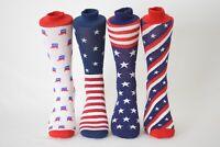 Men's Fun Crew Socks Patriotic Stars Stripes Flag Shoe Size 6-12.5