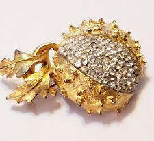 Vintage Hattie Carnegie Rhinestone Accent Spiky Flower Bud Brooch