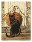 Black Cat by Bonnie Mohr Cat Pumpkin Print Poster