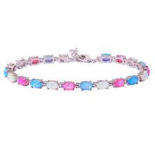 "Silver White Blue Pink Opal Women Jewelry Gemstone Chain Bracelet 8 1/4"" OS557"