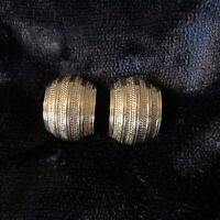 Vintage MONET gold-tone post earrings Creole signed Rectangle pierced