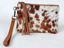 """Real Cowhide Leather Wristlet Clutch Wallet Double Side Hairon 8.5""""x5.5"""" RW-5872"""