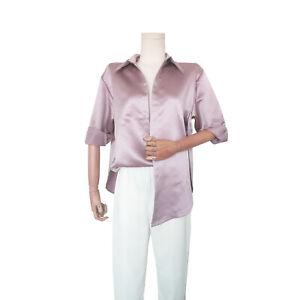 Womens Satin Shirt Long Sleeve Tops Stand-up Collar Formal Casual Blouse Satin