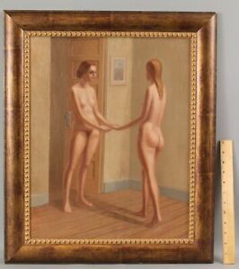 ELI LEVIN American Modernist Nude Women Lesbian Romantic Lovers Oil Painting