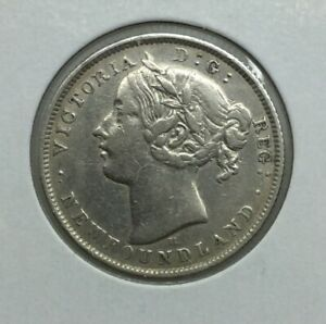 Newfoundland 1872H 20 Cents Queen Victoria Decent Grade Old Light Cleaning