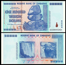 Zimbabwe 100 TRILLION Dollar 100000000000000  AA-2008 Pick-91 UNC  Canada Seller