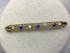 ANTIQUE 10K SAPPHIRE & SEED PEARL BAR PIN -Yellow Gold, Framed Filigree Mounting