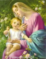 Our Lady Mary of the Rosary Picture Print Art Catholic 8 x 10 Cromo of Italy
