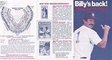 1983 New York Yankees Billy Martin's Back Baseball Schedule