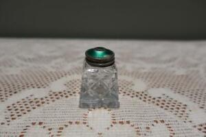 Vintage Sterling Silver & Guilloche Enamel Cut Glass Pepper Shaker - Norway - Rc