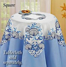 "Beach Coastal Seashell Nautical Decor Tablecloth 34"" Square Embroidered Cutwork"