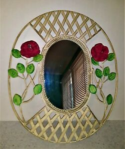"""Vintage Shabby Metal White Lattice Red Rose Floral Oval Wall Mirror 17.5""""x 14"""""""