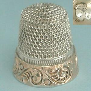 Rare Antique Gold Band Sterling Silver Thimble * Untermeyer-Robbins * C1890-1900