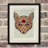 Antique Book Page Wolf Head Sugar Art Print Encyclopedia Dictionary Wall Décor
