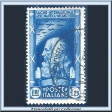 1935 Italia Regno Salone Aeronautico L. 1,25 azzurro n. 387 Usato