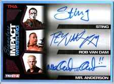 TNA Sting RVD Anderson  2011 Signature Impact RED Triple Autograph Card SN 5 / 5