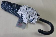 Susino Regenschirm für die Handtasche Taschenschirm blau Punkte Rüschen