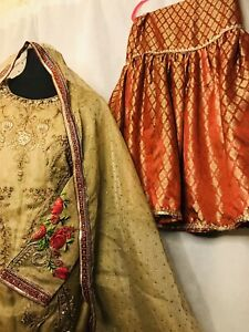 Partywear Bollywood jamawar Gharara Shirt Medium Size Dholki/wedding/mehndi